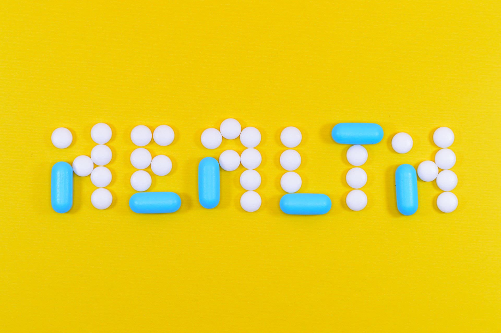 'Health' spelled out in pills