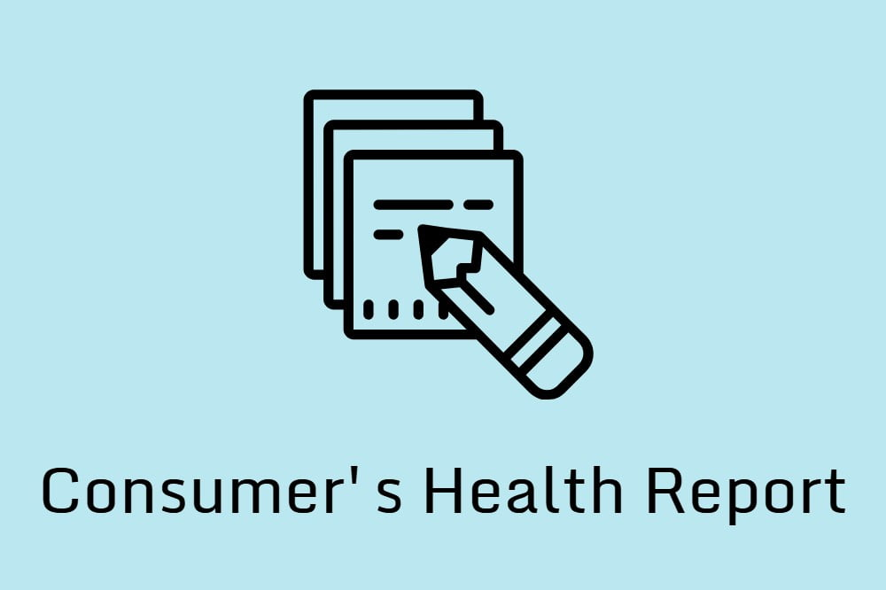 Graphic of a pencil writing on paper and the Consumer's Health Report logo