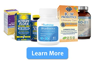 Image of the top probiotic products on the market with a 'Learn More' button