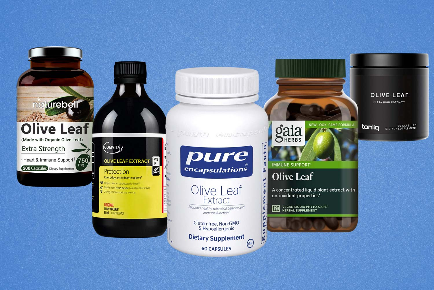 Image of the best olive leaf extract supplements next to each other