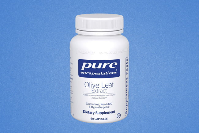 Image of a bottle of the best olive leaf extract supplement, Pure Encapsulations Olive Leaf Extract