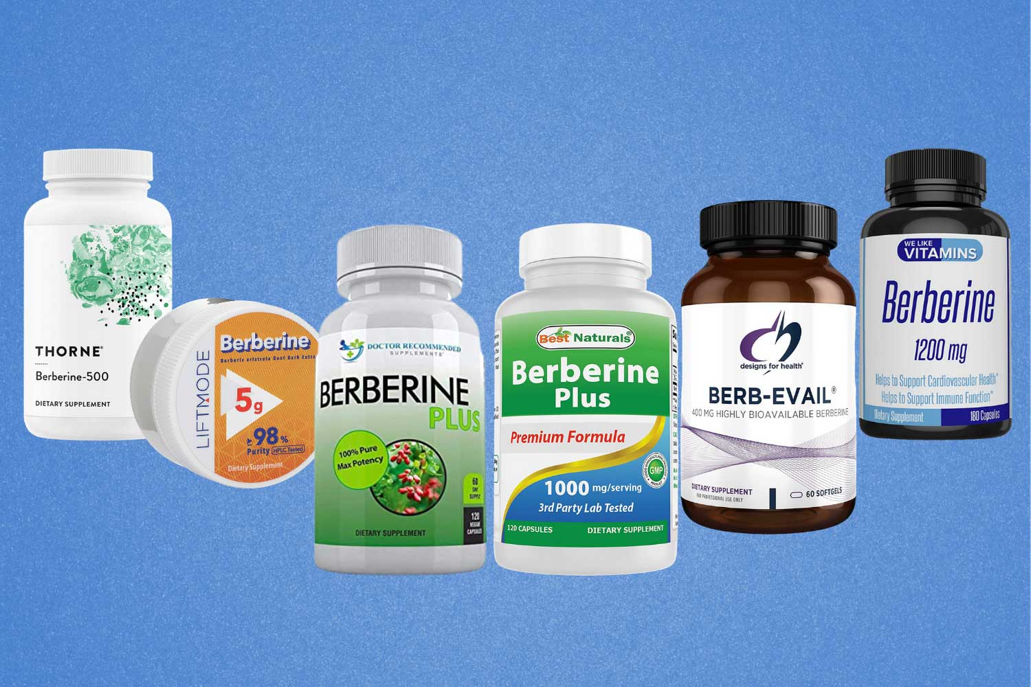 Image of the best berberine supplements lined up in front of a blue background