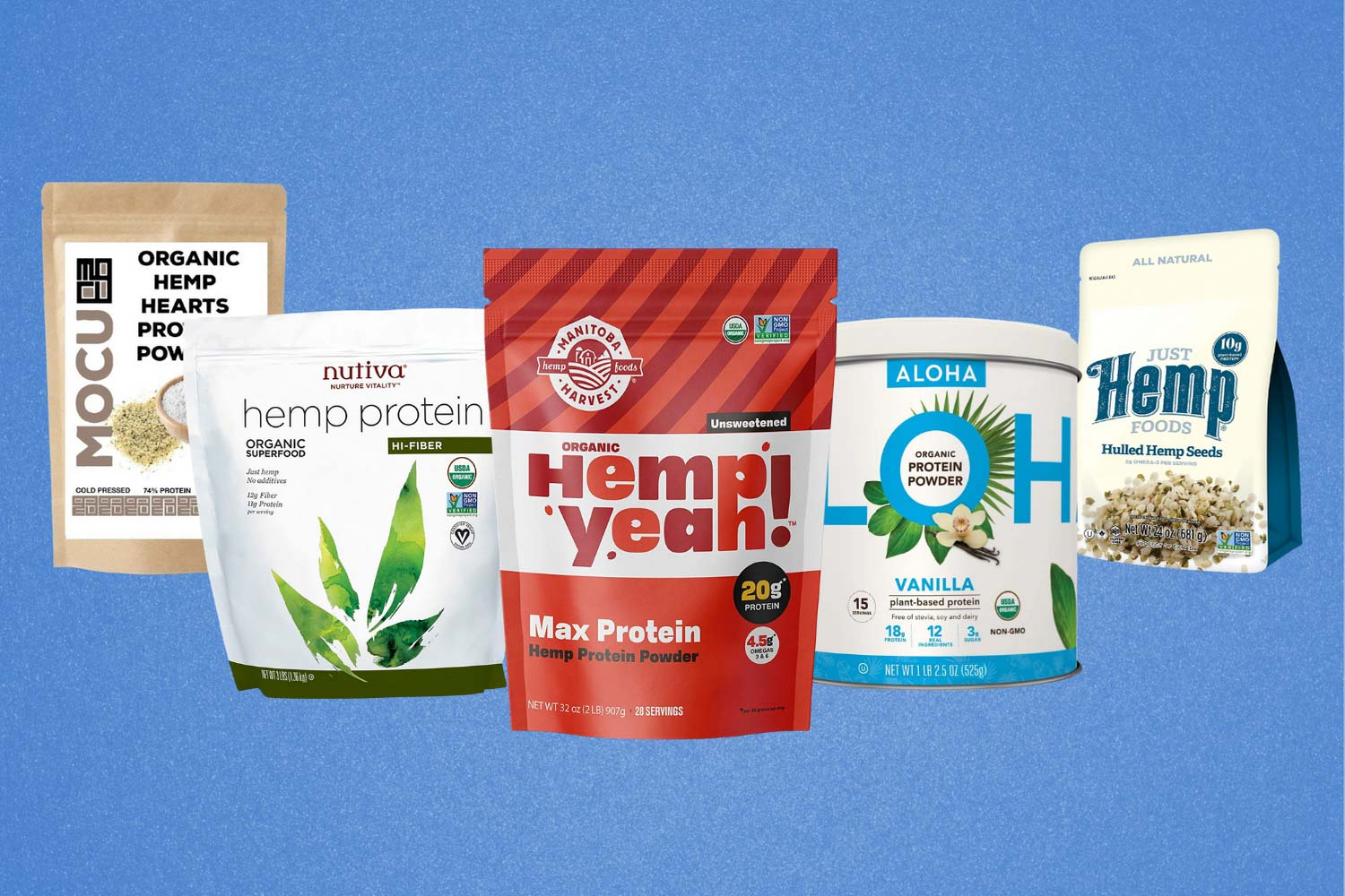 Image of the best hemp protein supplements lined up on a blue background